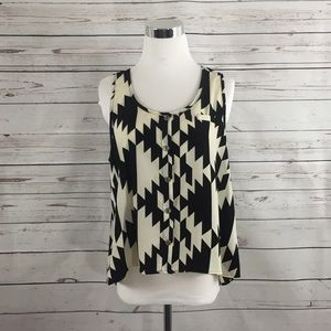 ÉLODIE Ivory and Black Houndstooth Swing Tank - L